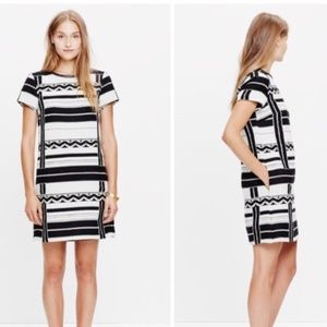 Madewell Geo Jacquard Dress Black White E5171 sz 2
